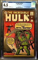 The Incredible Hulk 6 Cgc 4.5 Cr/ow Pages 1st App Teen Brigade And Metal Master