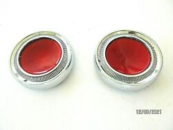 Vintage Accessory Red Jeweled Round Chrome Ornaments 3 1/8 Od 4306038 1 Pair