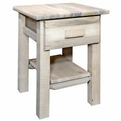 Montana Log Wood Nightstand With Drawer And Shelf In Clear Lacquer Mwhcndv