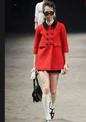 Red Wool Mohair Coat Jacket-with Tags- Rrp2900 Aud