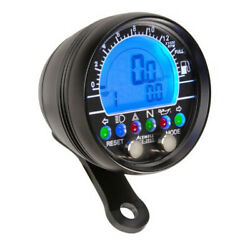 Round Digital Speedo With Fully Optioned Led Panel And Fuel Meter In Black Metal