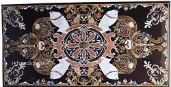 Unique Pattern Inlaid Dining Table Top Black Marble Lawn Table 30 X 60 Inches