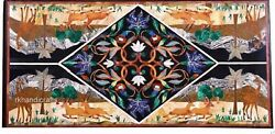 Handmade Nature Art Dining Table Top Marble Patio Table Royal Look 30 X 60 Inch