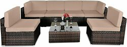 Outdoor 7 Pieces Patio Furniture Pe Rattan Conversation Set With Glass Table