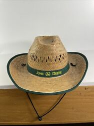 John Deere Straw Cowboy Hat With Green Band Vintage