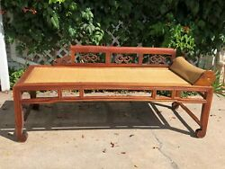 Antique Chinese Opium Day Bed Rattan + Wood 1800and039s Pick Up Only In Denver