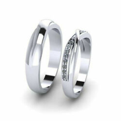 0.18 Ct Real Diamond Wedding Couple Bands Solid 950 Platinum All Size Available