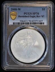2008 W American Silver Eagle Proof Coin Pcgs Sp 70 Sp07 Burnished Reverse '07