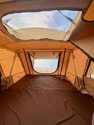 Takao Hardshell Roof Top Camp Tent - Khaki For Cars Trucks Suvs Fits 4 Person