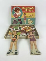 Lot Of Vintage 1960 Magic Stay On Dresses With 2 Dolls And Misc. Paper Dolls