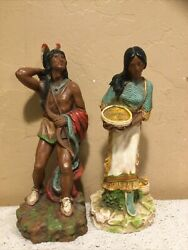 """Vintage 14"""" Indian Warrior And Maiden Chalk-ware Statues-universal Statuary-homco"""
