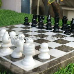 Chess Set Vintage Board Game Hand Craved Italian Marble Stone Weighted Pieces