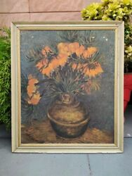 Vintage Collectible Flower Vase Painting Print Framed Wall Decor Wall Hanging