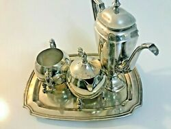 Reed And Barton Sheffield Silver On Copper Set Of Four-coffee-creamer-sugar-tray