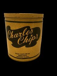 Vintage 9 1/2 High Charles Chips Potato Chip Metal Tin Can Empty 16 Oz