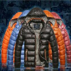 Menand039s Winter Warm Quilted Duck Down Jacket Padded Bubble Puffer Ski Parka Coat