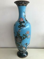 Monumental Antique Japanese Cloisonne Meiji Vase With Birds And Flowers 24 Inch.