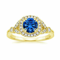Real 1.60 Ct Diamond Blue Sapphire Ring For Women Solid 18k Yellow Gold Size 8 7