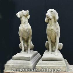 Pair Large Stone Guard Dogs Hounds - English Garden Gatekeepers