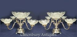 Pair Silver Plate Epergnes Centerpiece Glass Dish
