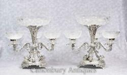 Pair Silver Plate Centrepiece - Sheffield Epergnes Glass Dish Serpent