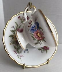 Lefton Bone China Tea Cup And Saucer Pink Peonies Gold Scalloped Trim Numbered