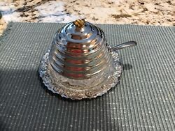 Vintage Silverplate Beehive Honey Pot W/silver-plate Spoon Made In England