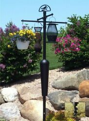 Squirrel Stopper Deluxe Bird Feeder Post And Plant Stand - Black | Sqc05