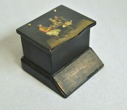 Antique Russian с 1870 Rare Match Holder Hand Painted Lacquer Box