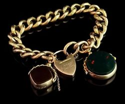 Antique 9ct Gold Curb Bracelet Edwardian Day To Night Spinning Fobs