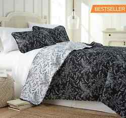 New Country Farmhouse Black Botanical Queen Printed Reversible Quilt Set