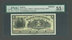 Bolivia Banco Industrial Proof Banknote Ps 161fp 1906 1 Boliviano Pmg 55 Epq