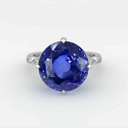 Real 3.88 Ct Blue Sapphire Gemstone Wedding Ring Solid 18k White Gold Size 7 8 9
