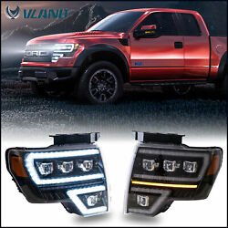 Pair Led Projector Headlights W/ Sequential Turn Signal For 2009-14 Ford F150