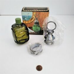 Vintage Avon Whale Oil Lantern Tai Winds After Shave Green Glass In Box, Full