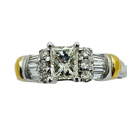 14k Solid Two Tone Gold Princess Cut Diamond Engagement Ring Total Carats .90