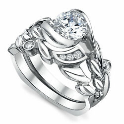 Round 0.75 Ct Diamond Engagement Band Sets Solid 14k White Gold Ring Size 7 8 9