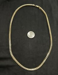 10k Solid Yellow Gold 5mm Franco Box Chain 24 Inch Length- Heavy Weight 91 Grams