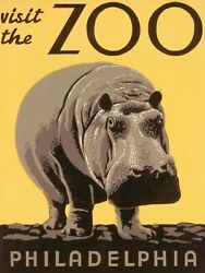 Vintage American Zoo Poster Visit The Zoo - Philadelphia - Hippo + Free Shipping