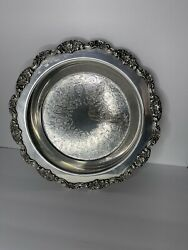 Lancaster Rose Epca Silver Plate By Poole 430 Round Tray Ornate/polished/etched