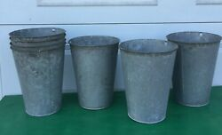 8 Vintage Old Galvanized Tapered Sap Buckets Maple Syrup Bucket Nice Lot