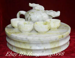 Natural Green Jade Cattle Cow Ox Wine Tea Pot Winepot Flagon Cup Plate Full Set