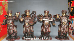 12 China Purple Bronze Gold Silver 4 Great Heavenly Kings Immortals Statue Set