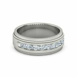 Solid 950 Platinum Ring 0.60 Ct Round Real Diamond Wedding Mens Band Size 13.5
