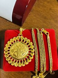 21k Fine 875 Saudi Real Gold Mens Womenand039s Flower Necklace 22andrdquo Long 3.8mm 15.72g