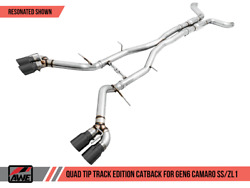 Awe Resonated Cat-back Exhaust Track Quad Black Tips 16-18 Chevrolet Camaro Ss