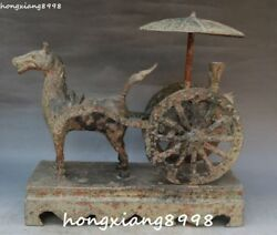 13 Old Unique China Bronze Ware Ancient People Man Horse Horses Carriage Statue