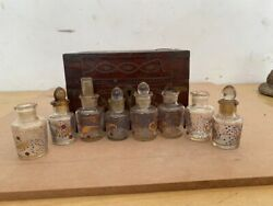 1800's Antique Old Gold Work Wood Hand Carved Brass Inlaid 8 Perfume Bottle Box