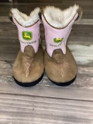 John Deere Faux Suede Leather Infant Baby Boots Slippers Size 6-9 Months