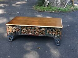Custom Designer Antique Chinese Carved Gold Leaf Coffee Table